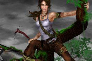 tomb, Raider, Lara, Croft, Girl, Game, Face, Eyes, Dirt, Wood, Fantasy