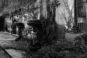 truck, Overturned, B w, Abandon, Deserted, Riot, Apocalyptic, Anarchy