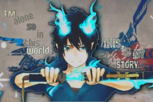 brunettes, Flames, Blue, Anime, Anime, Boys, Ao, No, Exorcist, Okumura, Rin, Swords
