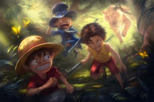 one, Piece, Animal, Bandaid, Black, Hair, Blonde, Hair, Butterfly, Forest, Goggles, Hat, One, Piece, Portgas, D, Ace, Richy, Truong, Sabo, Scarf, Short, Hair, Tears, Tiger, Watermark