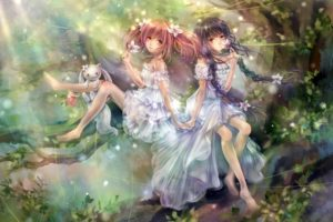 trees, Flowers, Forest, Mahou, Shoujo, Madoka, Magica, Kaname, Madoka, Drawings, Akemi, Homura, Anime, Girls, Kyubey, Homura, Subaru,  artist