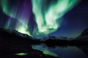 aurora, Borealis, Northern, Lights, Night, Green, Stars, Mountains, Landscape, Lake, Reflection