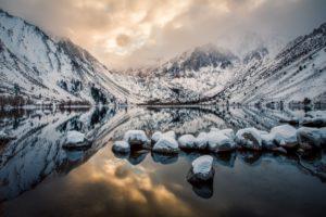 california, Lake, Mountains, Rocks, Reflection