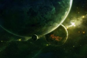 space, 3d, Art, Stars, Planet