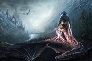 art, The, Elder, Scrolls, V, Skyrim, Dovahkiin, Dragon, Warrior, Soul, Mountains, Bridge, River, Fantasy