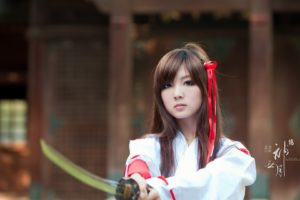 women, Japan, Cosplay, Katana, Japanese, Brown, Eyes, Asians, Girls, With, Swords, Bangs