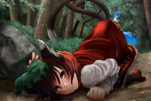 brunettes, Tails, Nature, Touhou, Forest, Brown, Eyes, Nekomimi, Animal, Ears, Short, Hair, Chen, Hats, Anime, Girls
