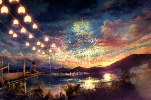 clouds, Landscapes, Trees, Fireworks, Scenic, Anime, Anime, Girls, Cities, Chinese, Lantern