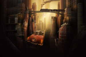 city, The, Future, Metropolis, Fantasy, Car, Retro, Train, Bridge, Houses, Buildings, Skyscrapers, Pipes, Steam, Metal, Grunge