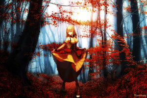 cg, Digital art, Art, Artistic, Paintings, Airbrushing, Anime, Fantasy, Women, Females, Girls, Nature, Trees, Forests, Landscapes