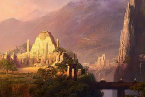 landscapes, Cityscapes, Architecture, Buildings, Aztec, Artwork, Temples