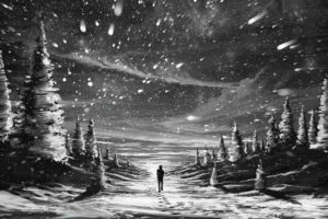 anime, Paintings, Artistic, Mood, Snowflakes, Snow, Nature, Storm, People, Alone, Emotions, Trees, Snow, Winter