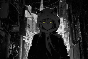 houses, Buildings, Nekomimi, Jackets, Stairways, Short, Hair, Grayscale, Skyscrapers, Yellow, Eyes, Snowflakes, Hoodies, Braids, Selective, Coloring, Scarfs, Anime, Girls, Cables, Cities