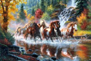 mark, Keathley, Mark keathley, Horses, Paintings, Landscapes, Nature, Trees, Forest, Waterfall, Autumn, Fall, Colors, Rivers, Artistic, Art