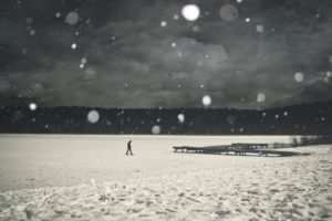 landscapes, Nature, People, Men, Males, Mood, Situation, Snow, Snowing, Snowflakes, Alone, Emotion, Manipulation