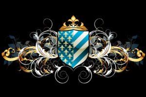 vintage, Emblems, Floral, Black, Background, Framework