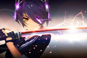 kantai, Collection, Black, Hair, Eyepatch, Gloves, Jpeg, Artifacts, Kantai, Collection, Purple, Hair, Short, Hair, Signed, Sword, Tenryuu,  kancolle , Tie, Weapon, Yellow, Eyes