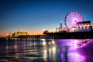santa monica, Santa, Monica, Seascape, Ocean, Sea, Nature, Beaches, Sand, Waves, Reflection, Water, Wet, Foam, Sunset, Skies, Colors, Amusement, Park, Places, Pier, Dock, Rides, Ferris, Wheel, Architecture, Build
