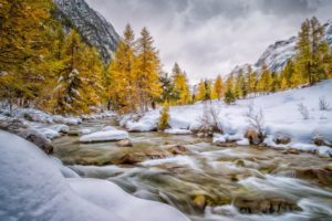 engadin, Schweiz, Val, Bever, Autumn, Winter, Snow, River, Mountain