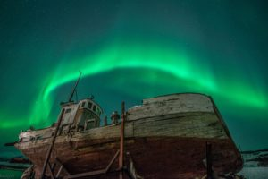 aurora, Borealis, Northern, Lights, Night, Green, Stars, Boat, Abandon, Deserted, Dilapidated