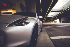 nissan, 350z, Vehicles, Cars, Tuning, Wheels, Rims, Tires, Close, Up, Roads, Street, Tunnel, Architecture, Buildings, Stance, Lights