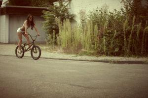 sports, Bmx, Bicycles, Wheels, Roads, Plants, Bush, Women, Females, Girls, Legs, Brunette, Babes, Sexy, Sensual, Models