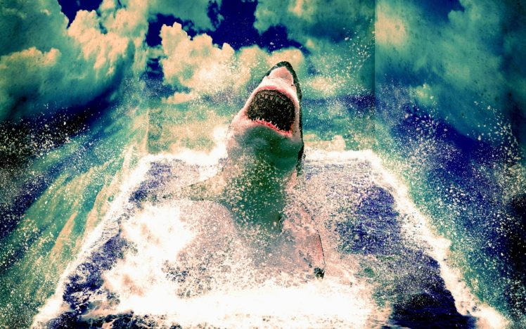 animals, Sharks, Manipulation, Art, Cg, Digital, Artistic, 3d, Psychedelic, Mind, Teaser, Ocean, Sea, Nature, Sky, Clouds, Waves, Scary, Spooky, Fangs, Jaws, Movies HD Wallpaper Desktop Background
