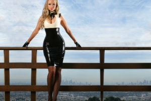 ancilla, Tilia, Latex, Dress, Shine, Blondes, Women, Females, Girls, Models, Style, Fashion, Boobs, Cleavage, Sexy, Sensual, Babes, Sky, Clouds, Pier, Dock, Legs, Pose, Adult