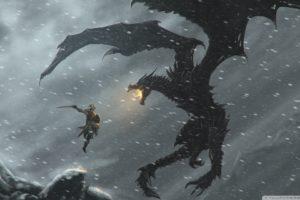 snow, Dragons, Fantasy, Art, Warriors, The, Elder, Scrolls, V , Skyrim