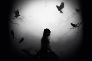 viktoria, Voronko, Mezamero, Anime, Fantasy, Dark, Demon, Zombie, Undead, Horror, Evil, Scary, Creepy, Occult, Crow, Animals, Birds, Ravens, Gothic, Death, Possessed, Alone, Mood, Emotion, Eyes, Face, Glow, Moon,