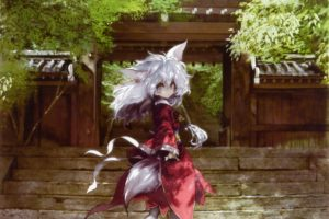 tails, Trees, Dress, Long, Hair, Ribbons, Outdoors, Buildings, Stairways, Shrine, Pantyhose, Animal, Ears, Yellow, Eyes, Red, Dress, White, Hair, Japanese, Clothes, Anime, Girls, Looking, Back, Banpai, Akira, Ba