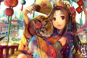 anime, Manga, Original, Color, Art, Artistic, Animals, Cats, Tigers, Babies, Cubs, Asian, Oriental, Kimono, Jewelry, Flowers, Blossoms, Geisha, Face, Yes, Smile, Women, Females, Girls, Sensual, Cities, Architectu