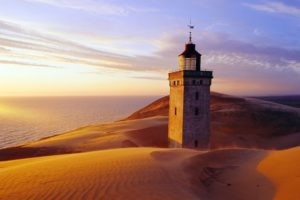 architecture, Buildings, Lighthouse, Lamp, Light, Hills, Landscapes, Sand, Dune, Sunset, Sunrise, Scenic, View, Ocean, Sea, Water, Sky, Clouds, Reflection, Glass, Window, Stone