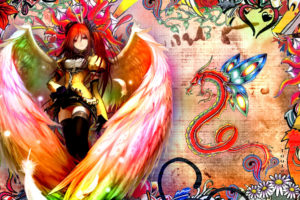 shakugan, No, Shana, Fantasy, Angels, Wings, Feathers, Color, Asian, Oriental, Dragons, Art, Artistic, Detail, Flowers, Bright, Women, Females, Girls