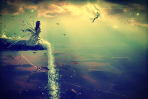 fantasy, Fairy, Wings, Magic, Children, Pixie, Sparkle, Landscapes, Mountains, Waterfall, Sky, Clouds, Scenic, Art, Artistic, Cg, Digital, Art, Mood, Emotion