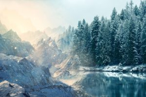 manipulation, Cg, Digital, Art, Artistic, Rivers, Lakes, Water, Reflection, Cold, Shore, Trees, Forest, Winter, Snow, Seasons, Snowing, Wind, Flakes, Drops, Sparkle