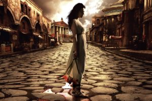 rome, Brunette, Knife, Blood, Series, Television, History, Cobble, Stones, Architecture, Buildings, Manipulation, Cg, Digital, Weapons, Women, Females, Girls, Babes, Actress, Brunette, Clouds