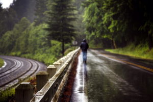 world, Roads, Railroad, Tracks, Fence, People, Men, Males, Mood, Alone, Nature, Landscapes, Trees, Forest, Storm, Rain, Wet
