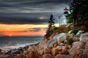 world, Architecture, Buildings, Lighthouse, Light, Lamp, Nature, Beaches, Shore, Coast, Rock, Stone, Sea, Ocean, Seascape, Scape, Sky, Clouds, Sunset, Sunrise