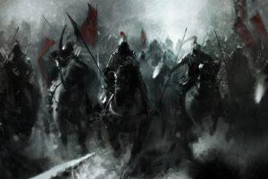 mongols, Fantasy, Knight, Warrior, Soldiers, Animals, Horses, Asian, Oriental, Battle, War, Weapons, Katana, Sword, Standard, Dark, Art