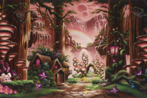 fantasy, Fairy, Tale, Art, Magic, Cartoon, Trees, Forest, Cute, Kids, Children, Scenic, Waterfall, Nature, Mountains, Soft, Mood, Architecture, Buildings, Houses, Cabin, Path, Trail, Animals, Cute, Sky, Moon