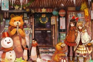 girls, Art, Anime, New, Year, Christmas, Gifts, Snowman, Bear