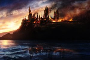 harry, Potter, Hogwarts, Fantasy, Castle, Witch, Fire, Art, Cg, Digital, Art
