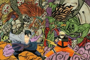 naruto, Vs, Sasuke, Art, Battle, Weapons