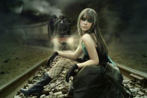 dark, Horror, Gothic, Emo, Mood, Sad, Sorrow, Alone, Fantasy, Cg, Digital, Manip, Railroad, Tracks, Train, Women, Model, Brunette, Pale, Lace