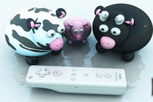 3d, View, Animals, Funny, Nintendo, Wii, Wiimote, Cows