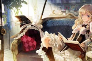 boots, Blondes, Video, Games, Touhou, Couch, Dress, Indoors, Tea, Room, Reading, Cups, Long, Hair, Corset, Argyle, Pattern, Books, Yellow, Eyes, Pillows, Kirisame, Marisa, Smiling, Bows, Braids, White, Dress, Ha