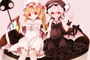 blondes, Video, Games, Touhou, Wings, Cross, Dress, Long, Hair, Ribbons, Weapons, Tongue, Vampires, Pantyhose, Red, Eyes, Short, Hair, Bows, Earrings, Sitting, Necklaces, Sisters, Jewelry, Spears, Ponytails, Whi
