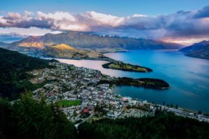 new, Zealand, Queenstown, New, Zealand, Lake, Wakatipu, Bay, Mountains, Panorama, Landscapes, Water, Sky, Clouds