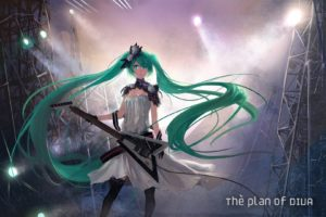 tattoos, Vocaloid, Gloves, Dress, Lights, Flowers, Stockings, Hatsune, Miku, Text, Long, Hair, Green, Eyes, Thigh, Highs, Green, Hair, Instruments, Guitars, Twintails, Electric, Guitars, Stage, White, Dress, Sof